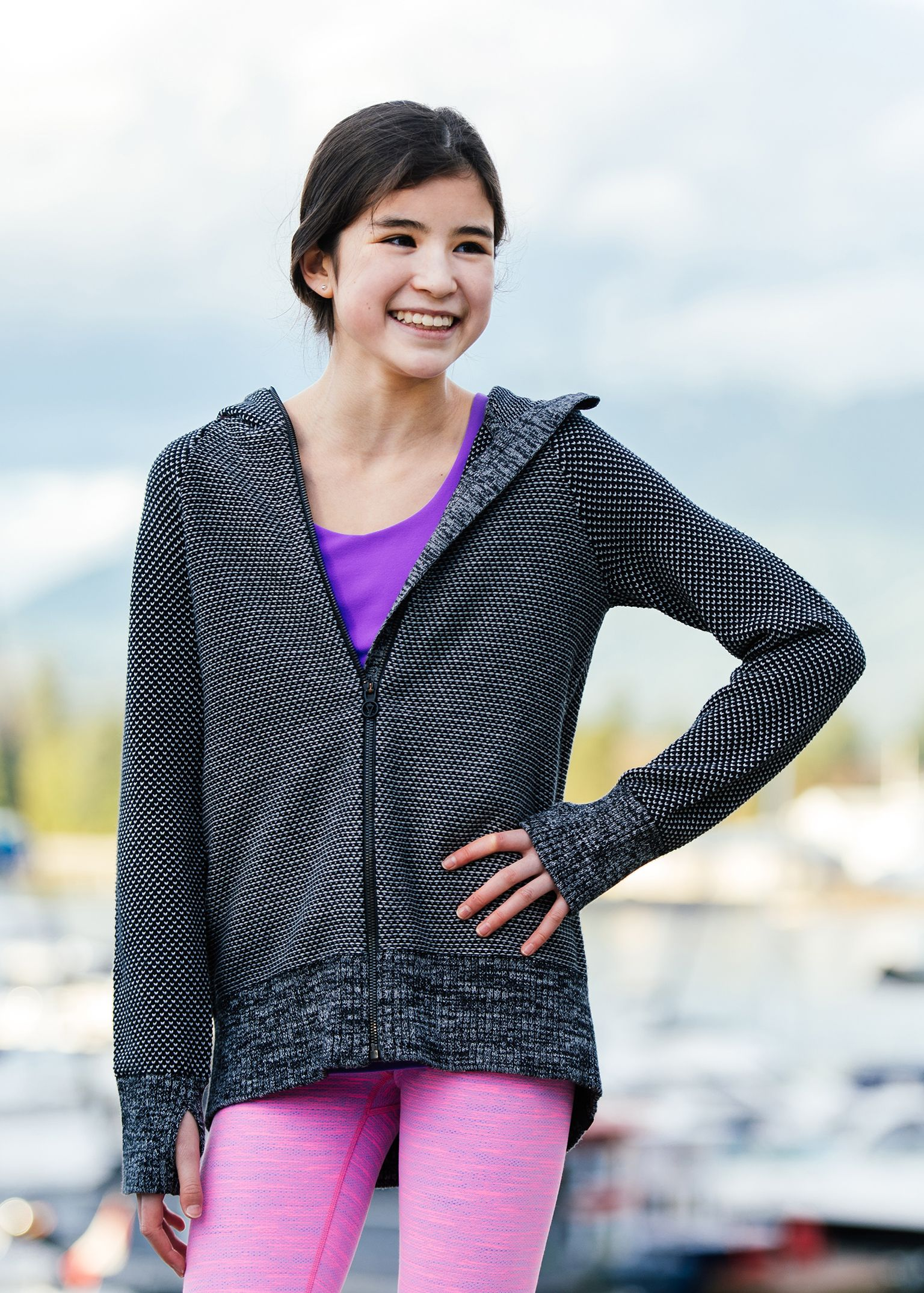 stay cuddled up to and from practice in cozy Cotton knit.   Just Cozy Jacket