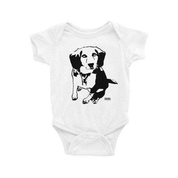 Beagle Baby Onepiece Beagle Gift Dog Baby Announcement Dog Baby