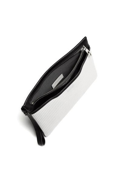"Perforated leather clutch with wrist handle10.75""W x 8""L x 0.5""DMain top zip closureFront sllit pocket with magnetic closureLining: 100% rayon failleShiny nickel hardwareRemovable wristlet strap"