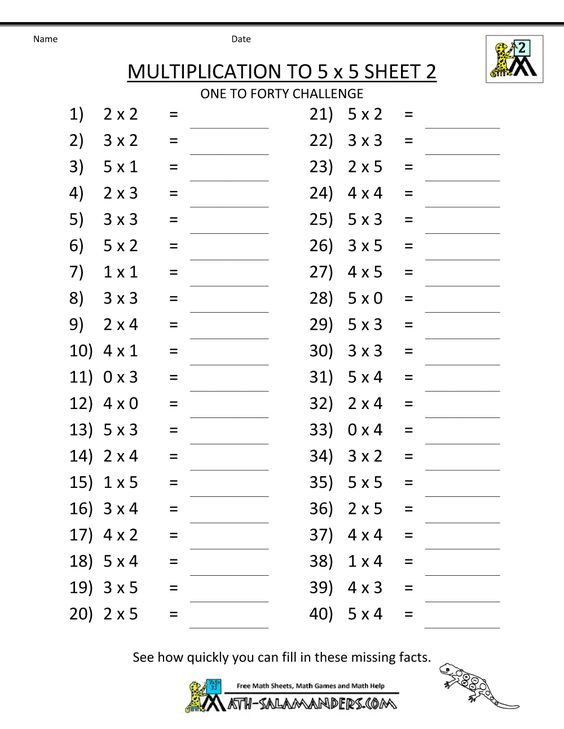 Multiplication To 5x5 Worksheets For 2nd Grade With Images