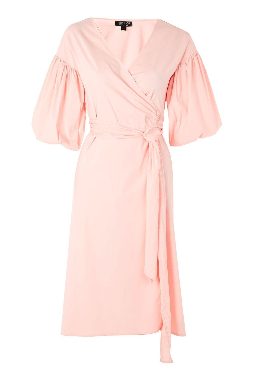 Balloon Sleeve Wrap Midi Dress - Dresses - Clothing | Women clothes ...
