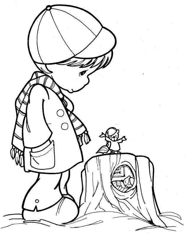 child warm in winter  precious moments coloring pages