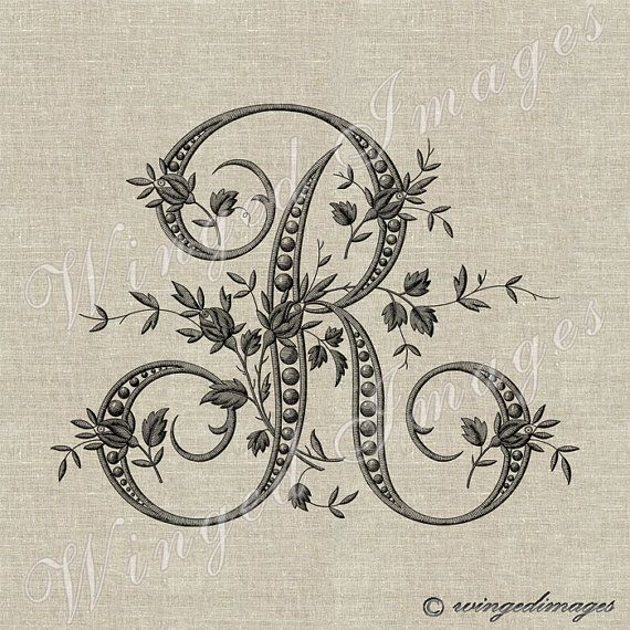Antique fran ais monogram lettre r instant par for Cuisinier francais 6 lettres
