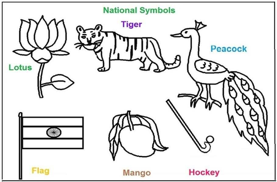 National Symbols Of India Coloring Printable Pages National