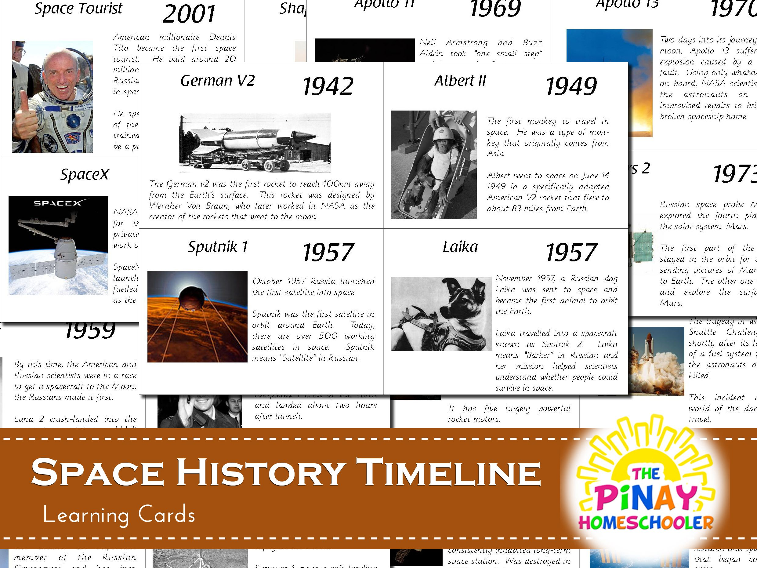 Free Space Exploration History Learning Cards