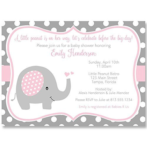 Elephant Baby Shower Invitations Sprinkle Girls Pink Terry