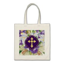 Cross and Crown of Thorns with Lilies Budget Tote Bag