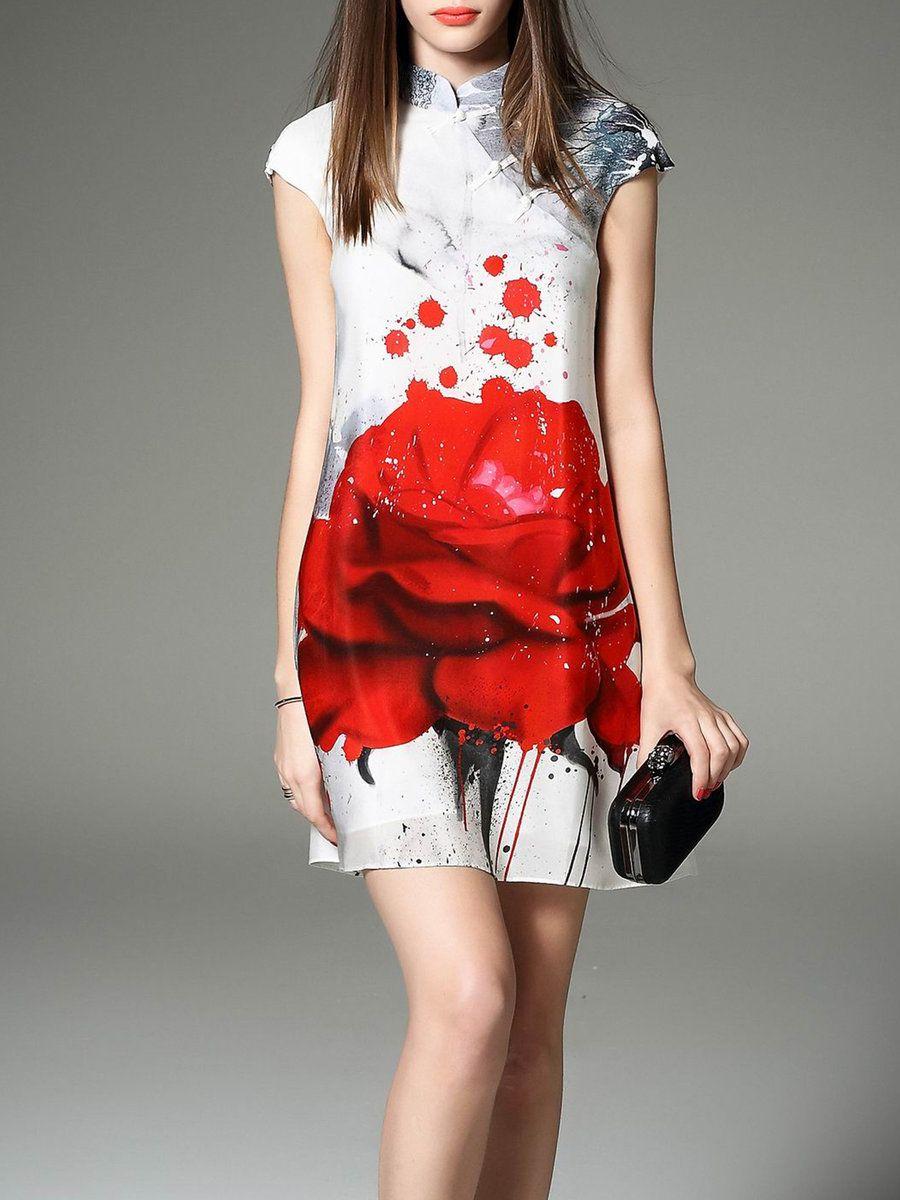 Short sleeve stand collar floral vintage mini dress mini dresses