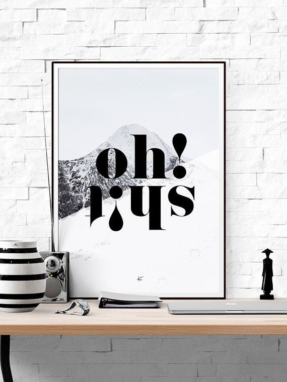typographic printable quote poster oh shit print black and white print printable. Black Bedroom Furniture Sets. Home Design Ideas
