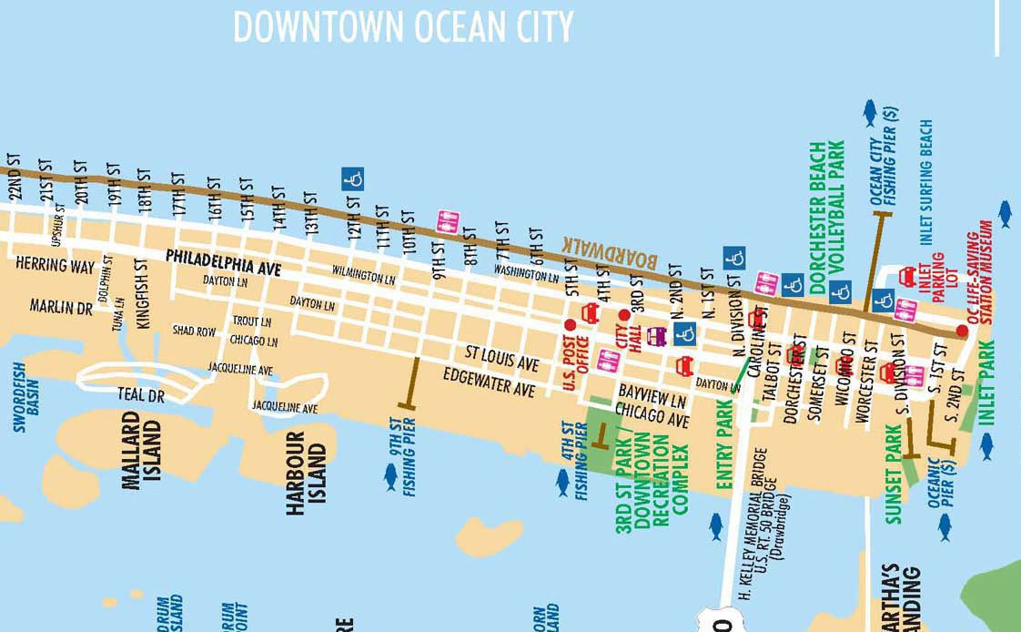 Local Maps Ocean City Ocean City Maryland Boardwalk Ocean City Boardwalk