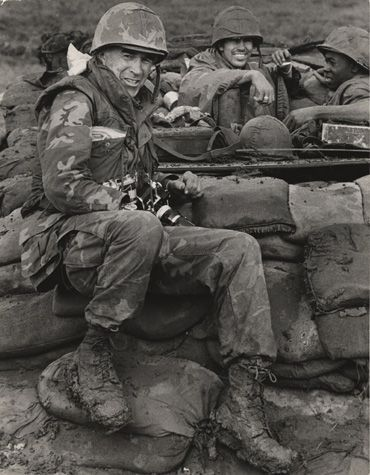 Photographer David Douglas Duncan in Con Thien, Vietnam, October 1967. Photo by Frank Breth. ~ Vietnam War
