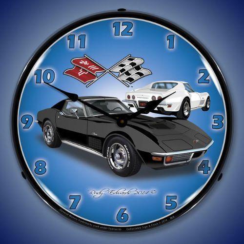 1971 Black Corvette Stingray Led Backlit Clock Corvette Stingray Black Corvette Corvette