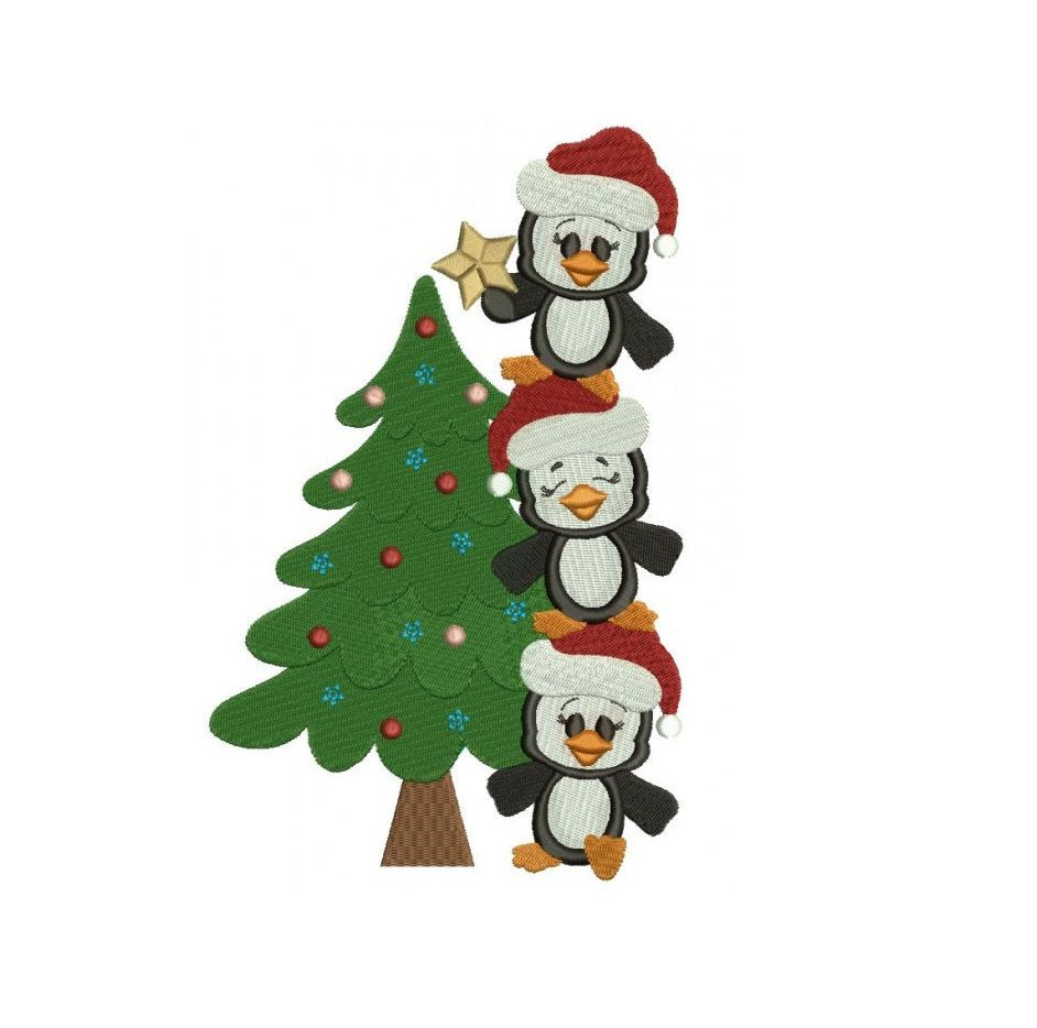 Penguins with Christmas Tree Filled Machine Embroidery Digitized ...