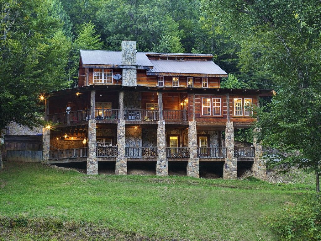 Dream Cabin!! Log Cabin with 2 stories of wrap around porches. Not ...