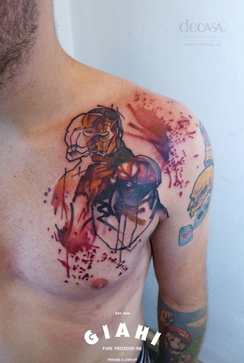 Cartoon tattoo designs on shoulder - Iron Man Tattoo By Carola Deutsch