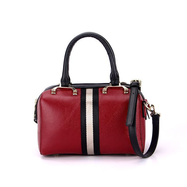 35a9c74f35 GIORDANO Italian Made Black   Red Leather Large Designer Structured Tote  Handbag