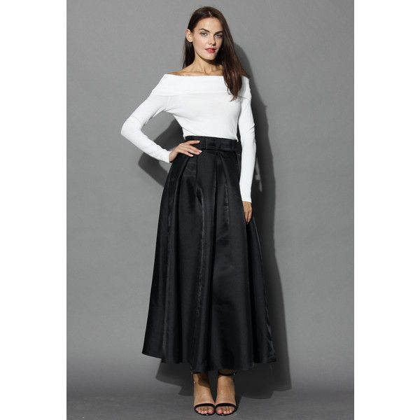 5a5371e7e2 Chicwish Bowknot Pleated Full Maxi Skirt in Black ($39) ❤ liked on Polyvore  featuring
