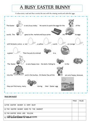 Easter rebus story - free classroom printable. First or ...
