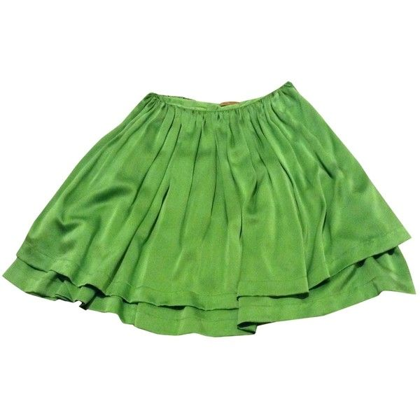 Pre-owned PETER JENSEN Green Silk Skirt (£150) ❤ liked on Polyvore featuring skirts, silk skirt, green skirt, peter jensen and green silk skirt