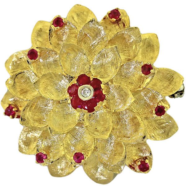 Vintage Cartier Solid 18k Yellow Gold .34ct Ruby and Diamond Floral Brooch Pin by shopccj on Etsy https://www.etsy.com/listing/238203226/vintage-cartier-solid-18k-yellow-gold