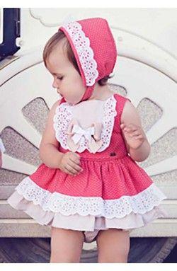 Vestido Dolce Petit de bebe Primavera Verano color coral