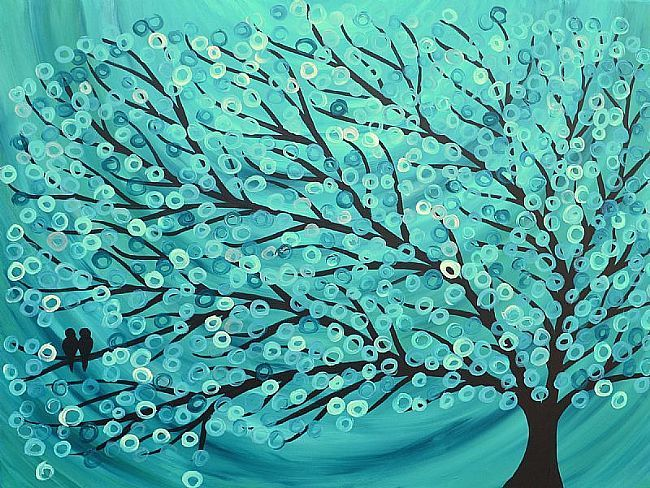 Art Two Birds Turquoise Amp Teal Abstract Tree Painting