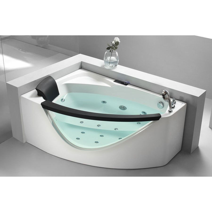 Eago Am198 R 5 Foot Right Drain Clear Corner Whirlpool Bathtub Acrylic Gl Size Under 60 Inches 5footjacuzzitub 5footjettedbathtubs