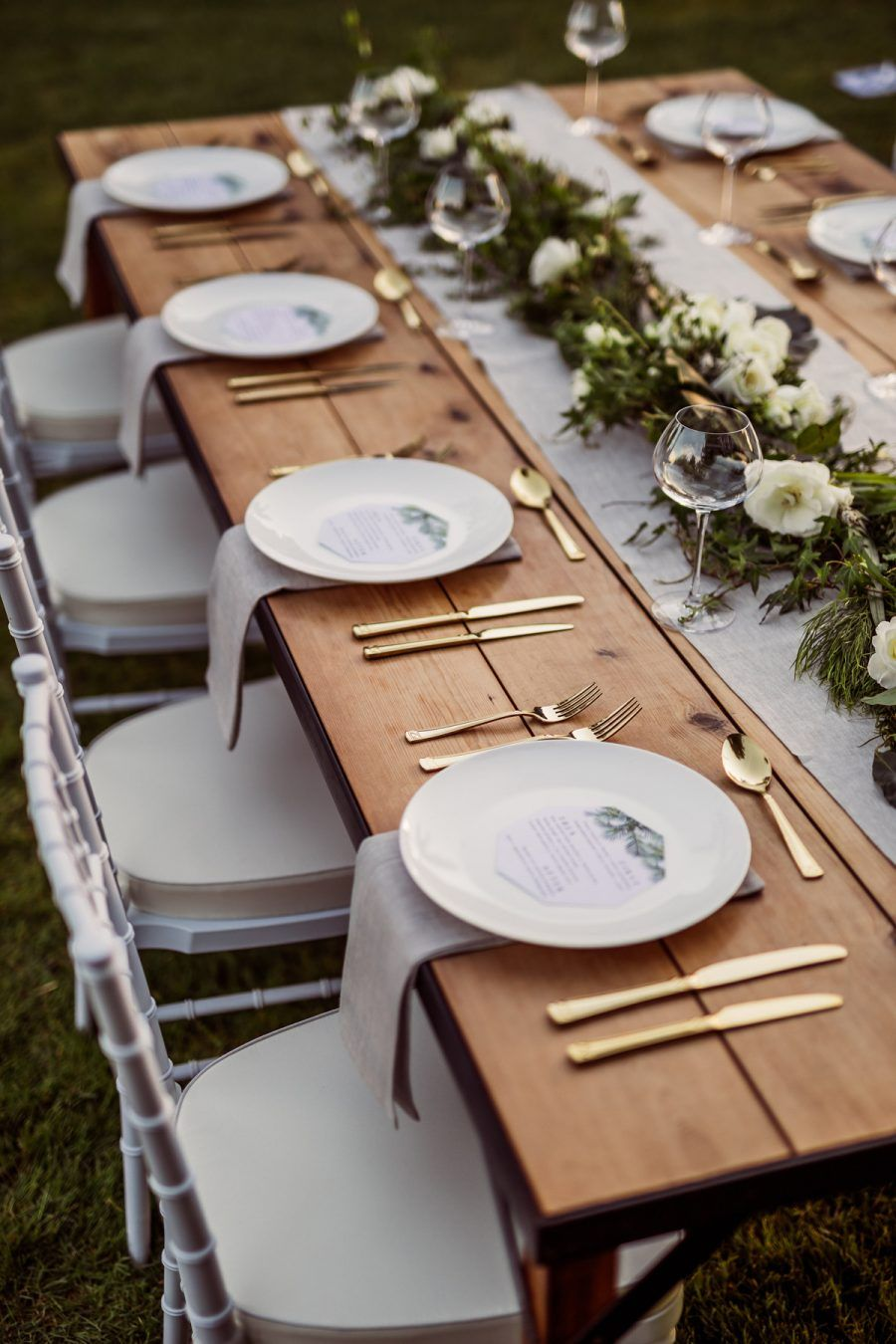 Wedding decorations white  tropical greenery table runner  styling by The White Wedding Club