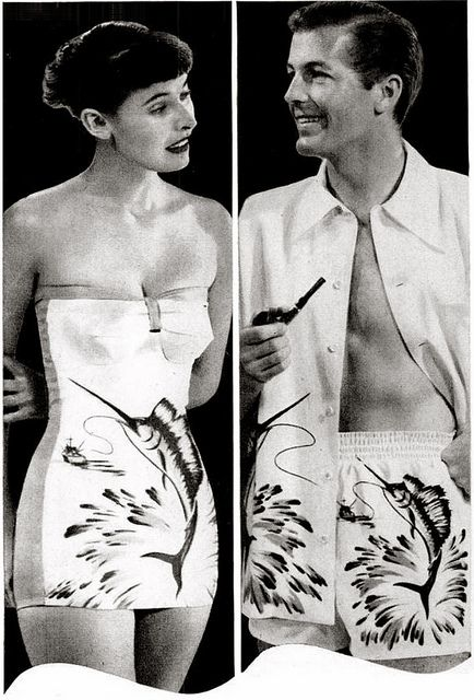 """His & hers matching Catalina swordfish bathing swim suits...    ...""""Sweethearts In Swim Suits"""" (late 1940's, vintage)"""