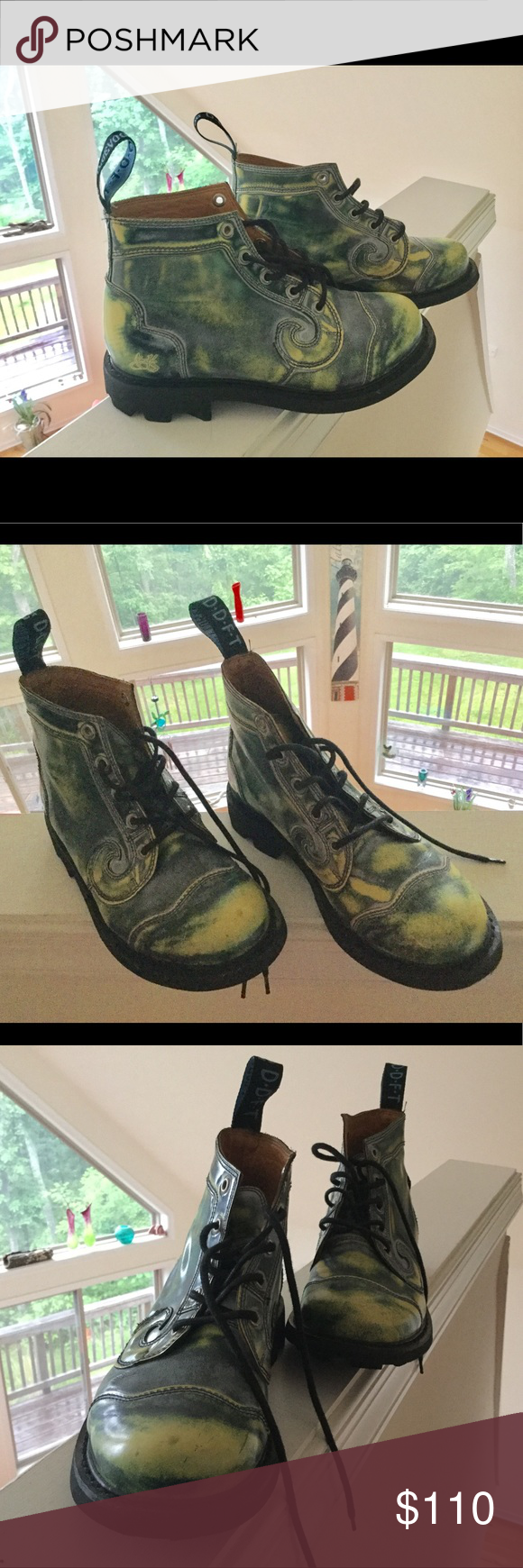 John Fluevog 7th Heaven Derby Swirl Acid Green Sz8 The 7th Heaven Angel's are the perfect blend of masculine, feminine, and 100% bad ass. This is the 5-hole version of a classic, leather lining, and padded foot docks. As always, Satan resistant. John Fluevog Shoes Ankle Boots & Booties