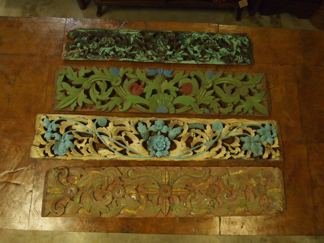carved teak panels from antique indonesian doors are beautiful