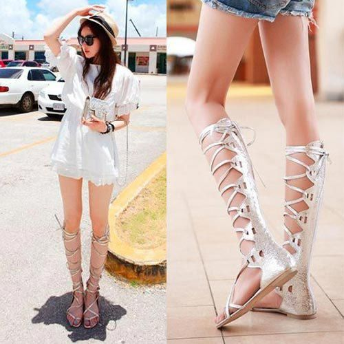 Wholesale-Korean Sex Silver Gold Flat Long Knee High Gladiator Sandals  Boots For Women Lace