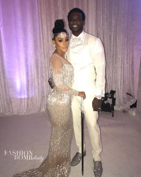 Congratulations To The Wopsters Keyshia Kaoir And Gucci Mane Wed With The Bride In Custom Charbel Zoe And Youseff Al Jasmi And The Groom In Custom Hideoki Besp Embellished Wedding Dress