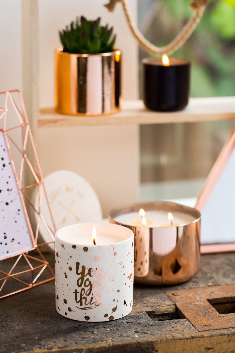 You Got This   Gold Paint Splatter Candle