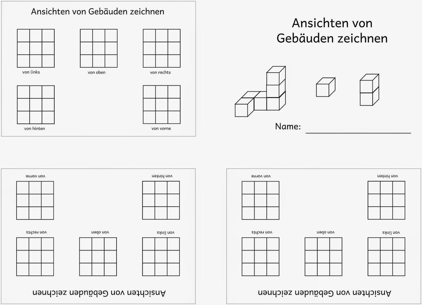 ansichten von w rfelgeb uden zeichnen matematika w rfelgeb ude lernen tipps schule mathe. Black Bedroom Furniture Sets. Home Design Ideas