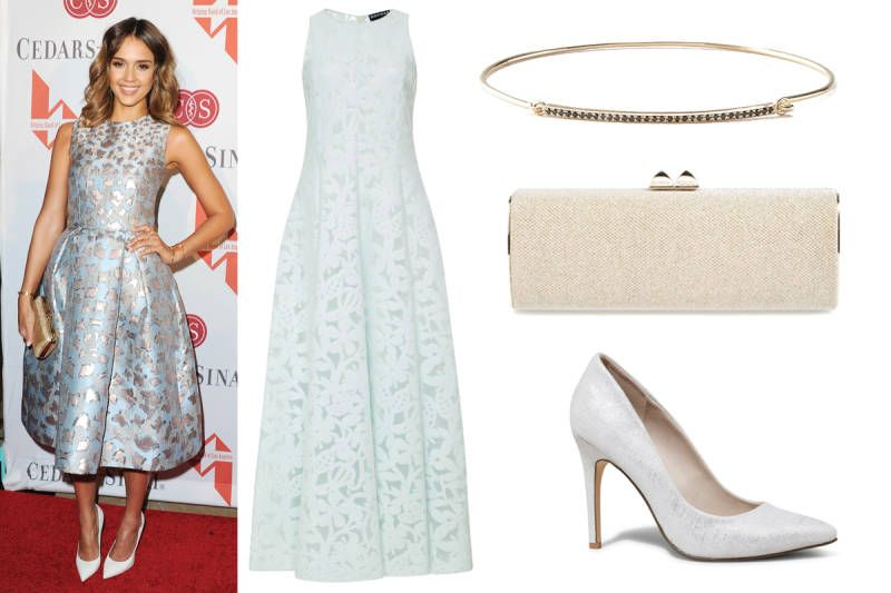 Jessica Alba in Los Angeles: dress, pumps, lamé glitter clutch, bar cuff bracelet