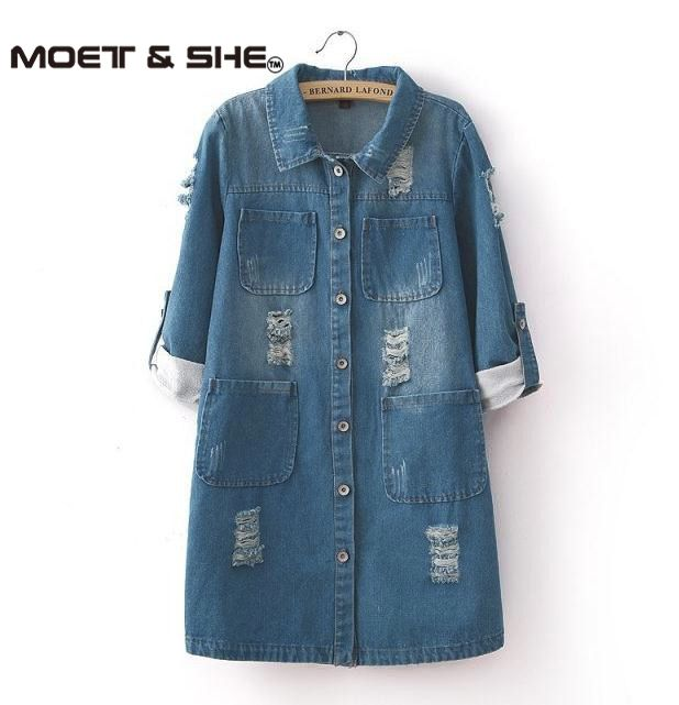 2015 New Fashion Spring Autumn Women Long Sleeve Roll Up Jeans Coat Female Casual Ripped Long Denim Jac Spring Fashion Denim Denim Coat Women Long Denim Jacket