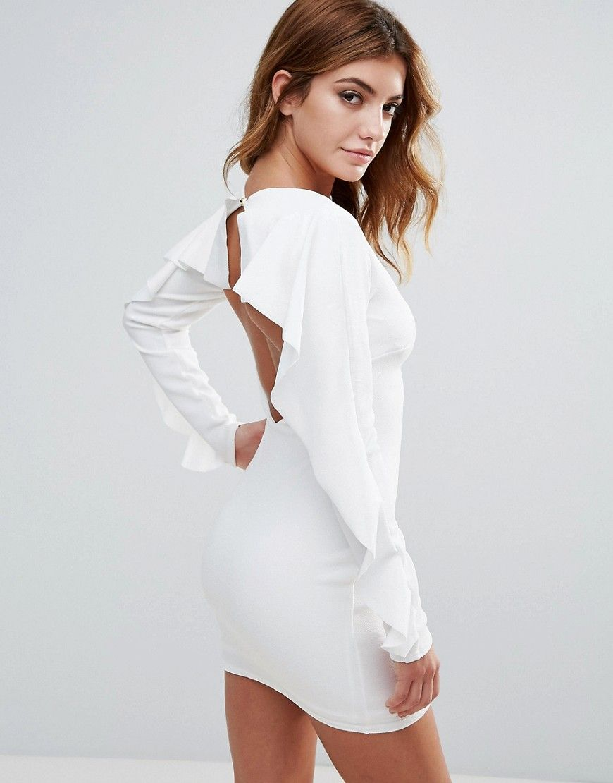Club l open back dress with frill sleeve white products