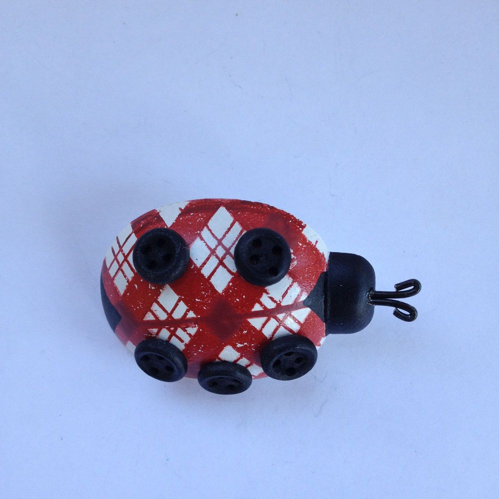 Wooden red white painted ladybug brooch pin bug insect wood fashion
