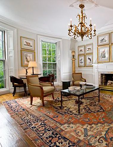 Oriental Rug Room Settings Gallery: Antique Serapi In Townhouse, This  Antique Serapi Complements This Living Room In The Boston Back Bay  Neighborhood.