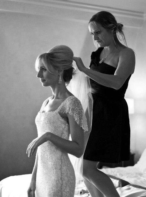 Beautiful wedding dress + high hair!