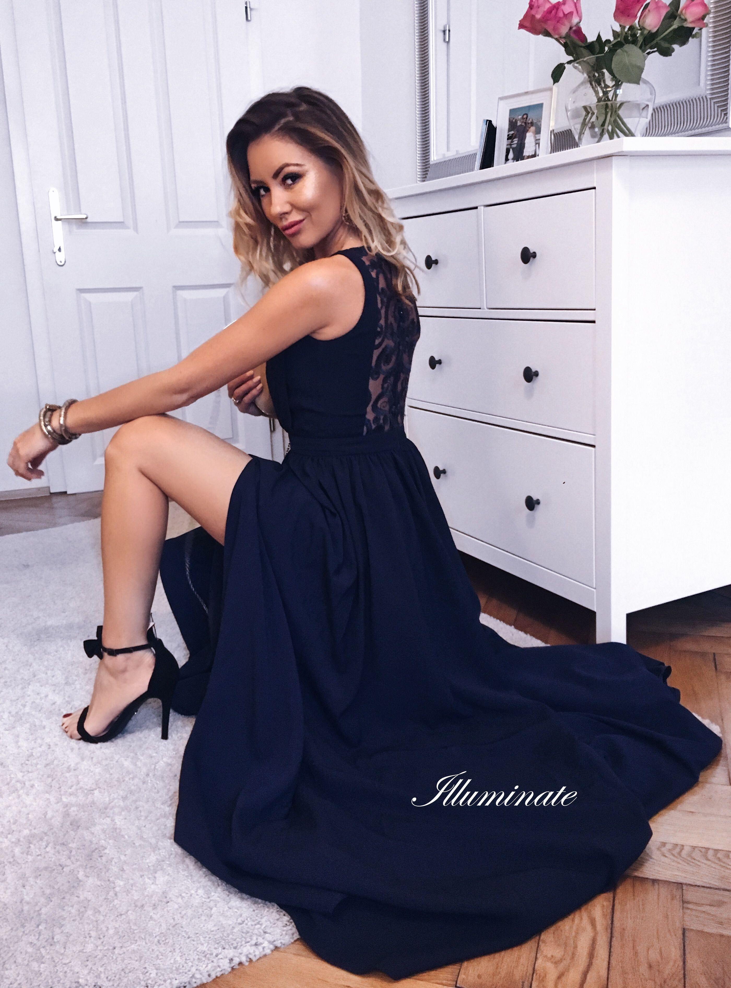 faa5cebb24 Długa granatowa sukienka Ellie