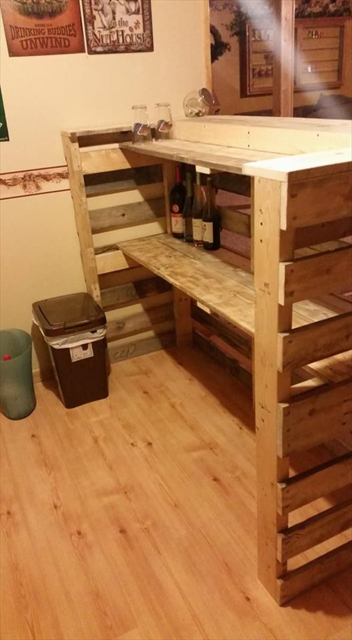 30 Best Picket Pallet Bar DIY Ideas for Your Home   Wooden pallets ...