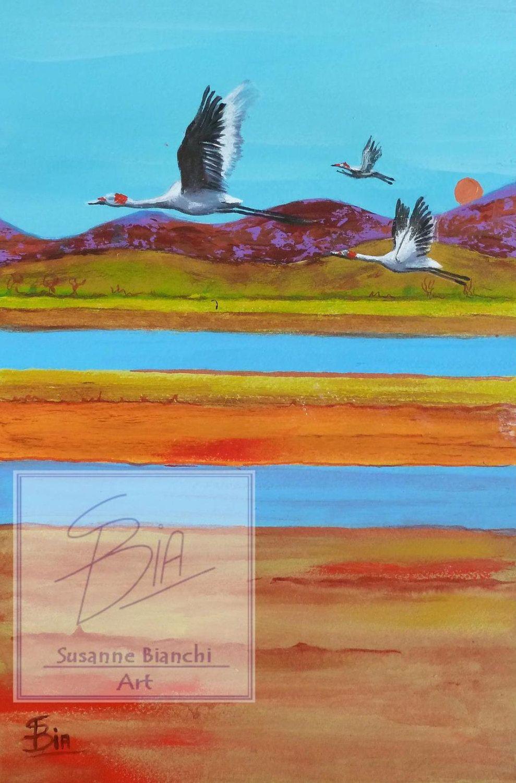Australiana, Flying Brolgas, Australian outback, Peaceful Bedroom ...