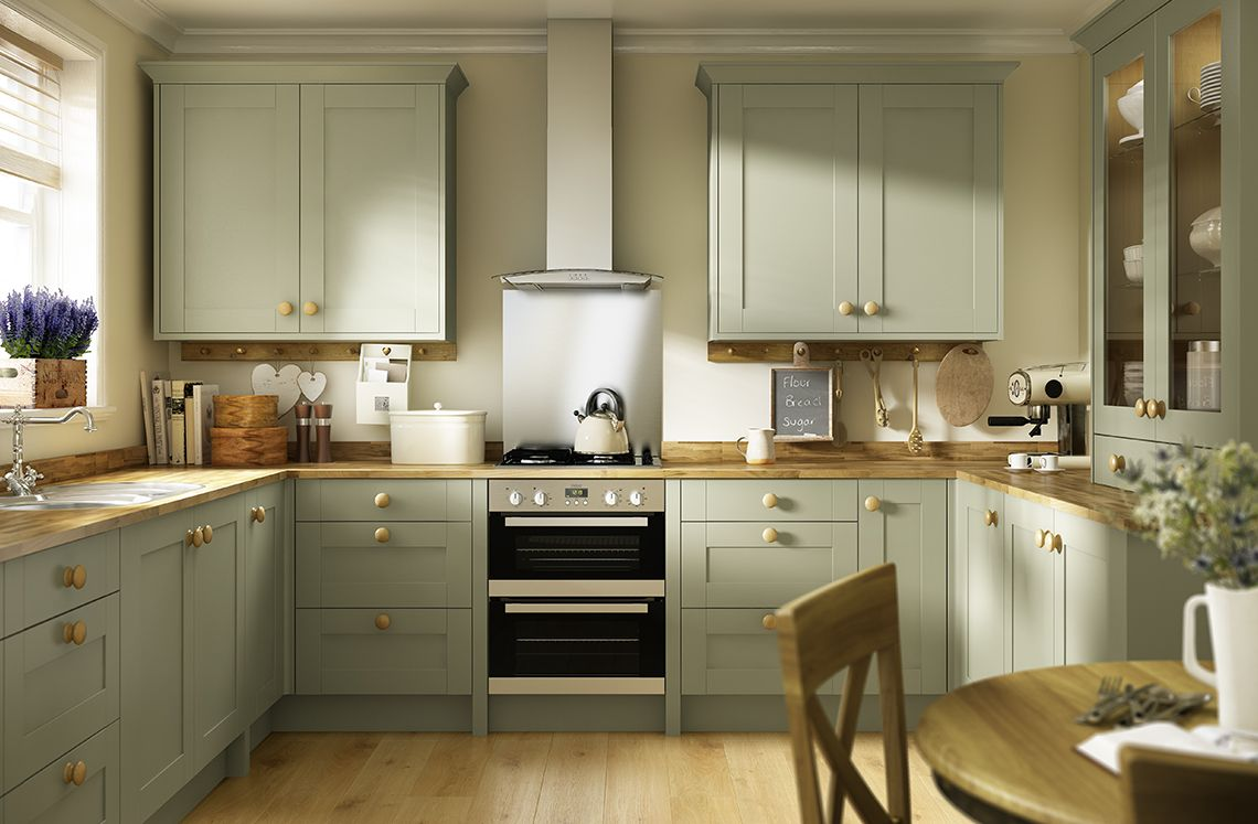 Create a classic shaker look with oxford olive green the for Green kitchen cabinets