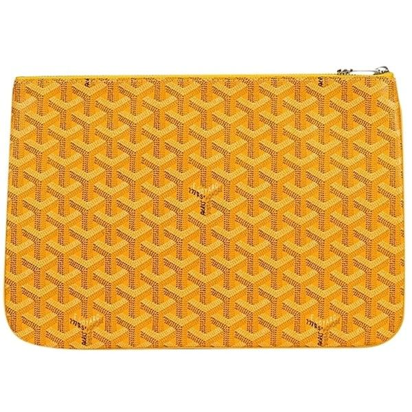 42b847e2081 Pre-owned Goyard Monogram Logo Yellow Clutch ( 929) ❤ liked on Polyvore  featuring bags