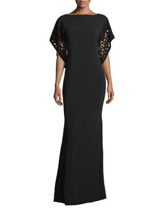 Laser-Cut-Sleeve Caftan Gown, Black by Rene Ruiz at Neiman Marcus.