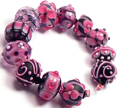 pink beads handmade lampwork glass beads by artist kandice seeber