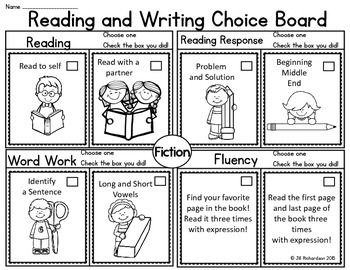 Reading Choice Board! First Grade Distance Learning Print