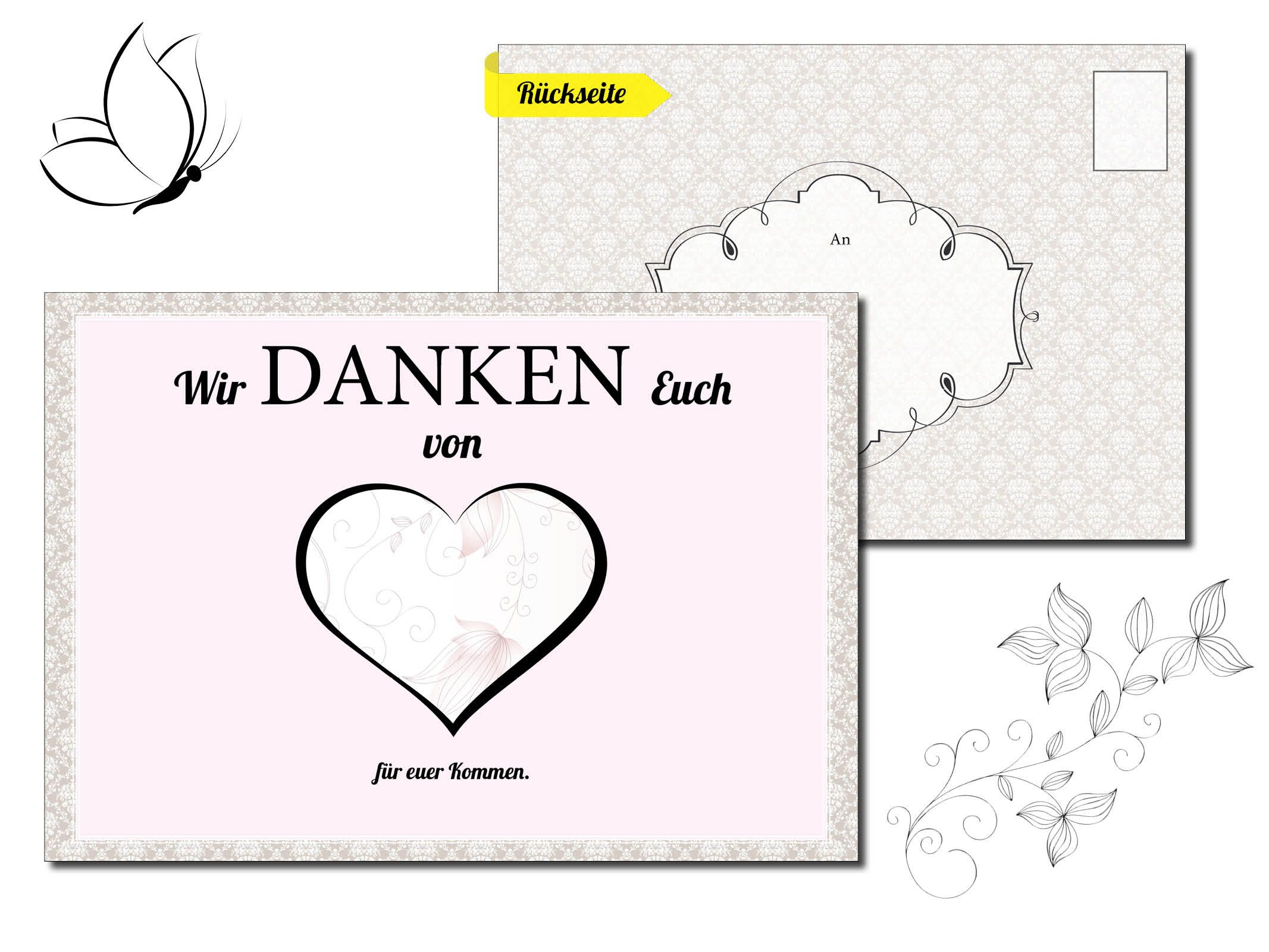 Hochzeit Dankeskarte Wedding Thank you Card anda